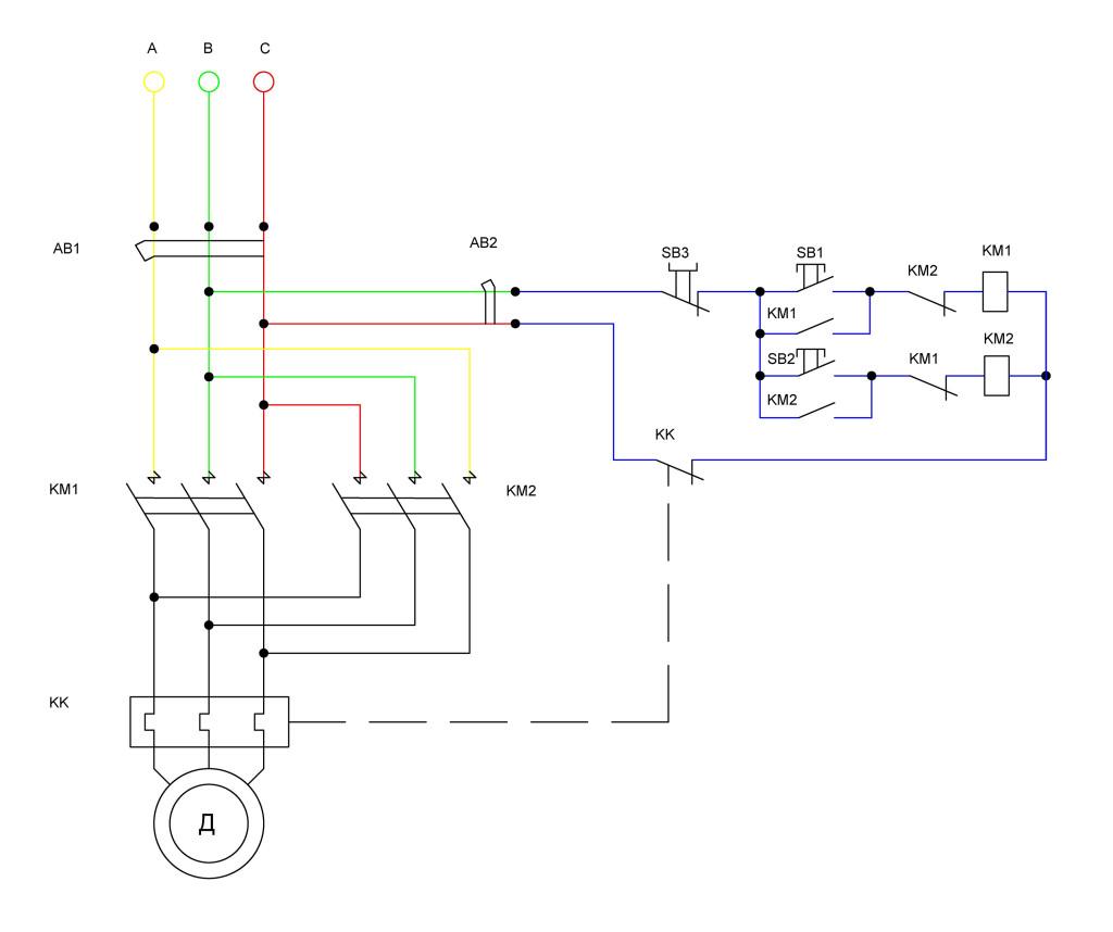 реверсивная схема подключения двигателя